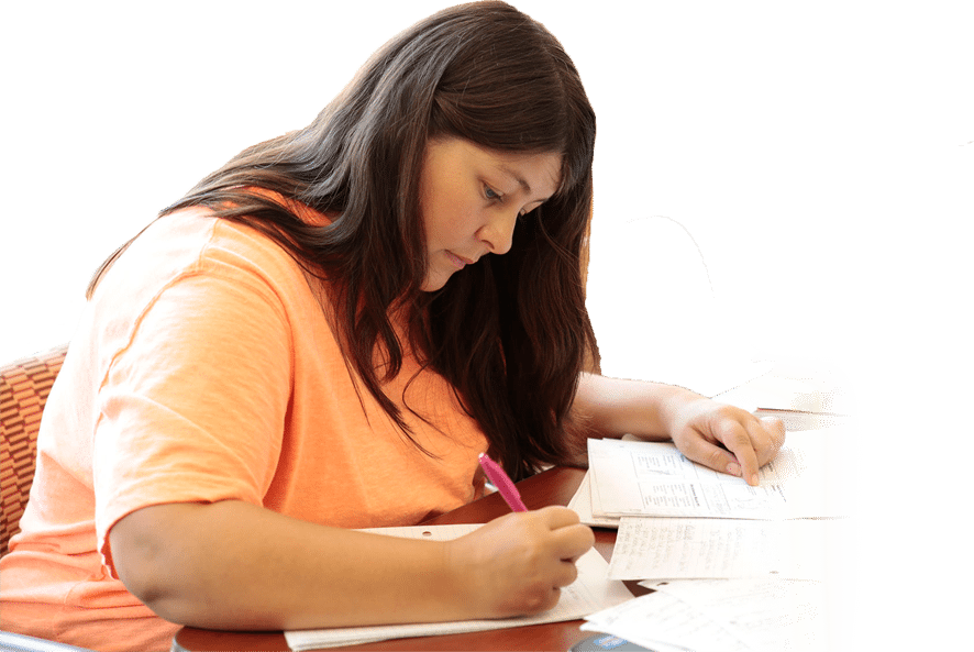 A South College student studying.