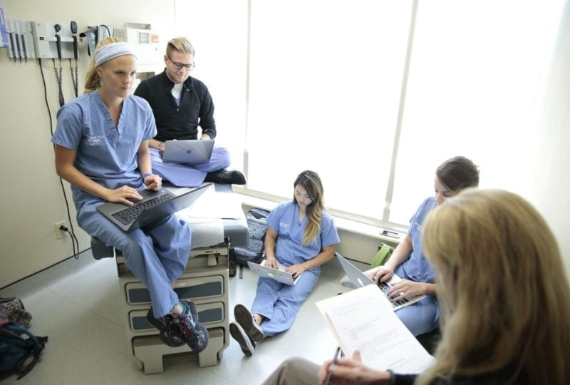 South College Knoxville medical students in a study group
