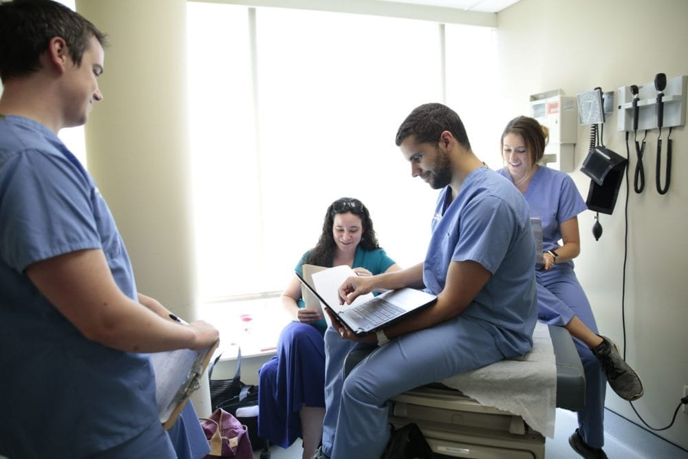 South College physician assistant students participating in a study group.