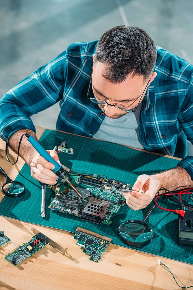 engineer working with pc parts